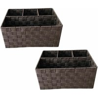 Woven Storage Box Basket Bin Container Tote Organiser Divider For Home Office[Brown,Set Of 2 (33.5 x 23 x 16.5 cm)] - TOPFURNISHING