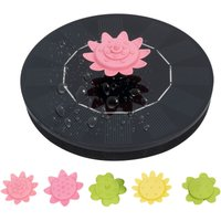 Xh01-130a solar floating petal fountain 6V / 1W is equipped with 5 petal nozzles (the nozzle can be used as a gyro to play), Black