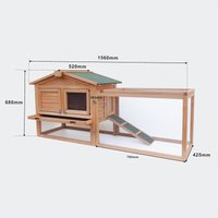 XXL rabbit hutch rabbit hutch with increased Freilaufgehege shelter 1560 x 520 x 680 mm - MERCATOXL