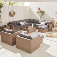 Premium Quality rounded polyrattan garden sofa set - Verona - Natural rattan, charcoal grey cushions - 12 to 14 seats, modular, maximum comfort.
