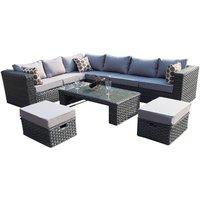 Conservatory MODULAR 8 Seater Rattan Corner Grey Sofa Set Garden Furniture With Rain Cover - Yakoe