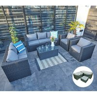 VANCOUVER 7 SEATER RATTAN GARDEN SOFA SET IN BLACK WITH FITTING COVER - Yakoe