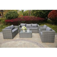 VANCOUVER 7 SEATER RATTAN GARDEN SOFA SET IN GREY WITH FITTING COVER - Yakoe