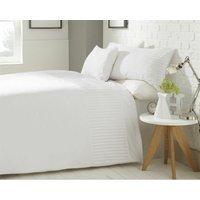 Yeovil Striped Duvet Cover Set Double White Bed Quilt Modern Bedding - BEDMAKER