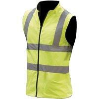 Mens Workwear Hi-Vis Reversible Fleece Vest / Jacket (XL) (Hi-Vis Yellow) - Yoko