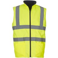 Yoko Mens Workwear Hi-Vis Reversible Fleece Vest / Jacket (Pack of 2) (2XL) (Hi-Vis Yellow)