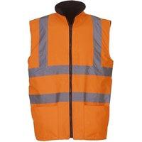 Mens Workwear Hi-Vis Reversible Fleece Vest / Jacket (Pack of 2) (3XL) (Hi Vis Orange) - Yoko