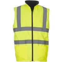 Mens Workwear Hi-Vis Reversible Fleece Vest / Jacket (Pack of 2) (M) (Hi-Vis Yellow) - Yoko