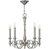 Elstead Lighting - Elstead Yorktown - 5 Light Chandelier Antique Nickel Finish, E14