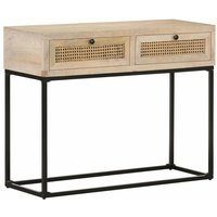 Console Table 100x35x76 cm Solid Mango Wood and Natural Cane - Youthup