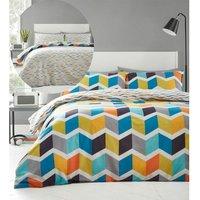 Zig Zag King Duvet Cover Set Bedding Reversible Brights Multi Geometric - BEDMAKER
