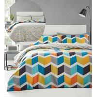 Zig Zag Super King Duvet Cover Set Bedding Reversible Brights Multi Geometric