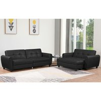 Humza Amani - Zinc PU Leather 3STR Sofa Bed with Storage, 2STR Sofa Bed with Storage and Ottoman Bench in Grey or Black. Living Room Furniture Set