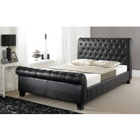 Faux Leather Button Bed, Double, Faux Leather - White