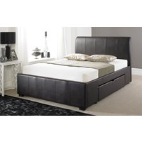 Faux Leather Drawer Bed Frame, Double, Faux Leather - White