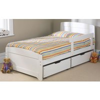 Friendship Mill Wooden Rainbow Kids Bed, Single, 2 Side Drawers, White, Matching Guard Rail