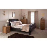 GFW Chicago Brown Faux Leather Sleigh Bed, King Size