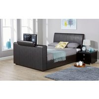 GFW Brooklyn Faux Leather TV Bed, Double, Faux Leather - White