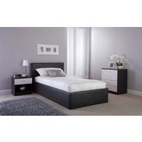 GFW Side Lift Ottoman Bed, Double, Faux Leather - White