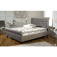 Limelight Orbit Fabric Bed Frame, Double, Velvet Silver