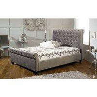 Limelight Orbit Fabric Bed Frame, King Size, Velvet Silver