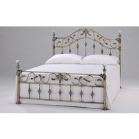 Elizabeth Brass Bed Frame, Double, Crystal Finials