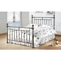 Time Living Alexander Metal Bed Frame, Double, Metal Finials, Black Nickel