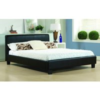 Time Living Hamburg Faux Leather Bed Frame, Double, Faux Leather - Black