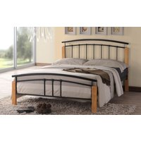 Time Living Tetras Metal Bed Frame, Double, Silver and Beech