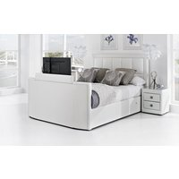 Azure Leather TV Bed, Double, White Leather, Samsung 32