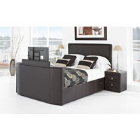 New York Leather TV Bed, Superking, White Leather, Samsung 32