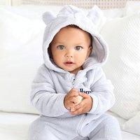 Personalised Baby Onesie - Grey Fleece - Onesie Gifts