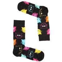 omschrijving leuke gekleurde poezelige dames sokken van het merk happy socks model cat sock mja01 9001 deze vrolijke sokken zijn gemaakt van katoen en vallen op door de fel gekleurde kattenkopjes op de zwarte sok