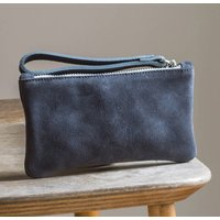 Suede Wristlet Purse With Liberty Print Fabric Lining
