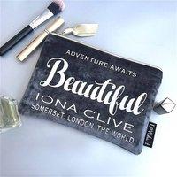 Grey Velvet And Gold Trim Clutch Style Makeup Bag