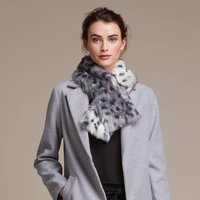 Luxuriously Soft Faux Fur Tippet Scarf, Midnight/Truffle