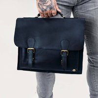 Personalised Navy Leather Classic Messenger