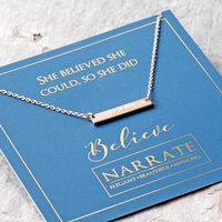 Believe Engraved Bar Sterling Silver Necklace, Silver