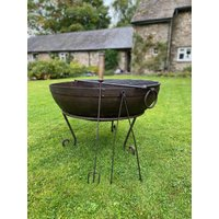 Indian Fire Bowl With Rack, Tongs And Toasting Fork