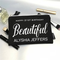 Personalised Glitter Text Black Luxury Make Up Bag