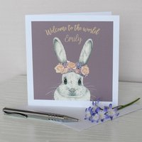 Bunny With Flower Crown New Baby Card, Grey/Mauve