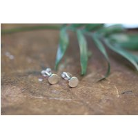 Madison Silver Button Earrings, Silver