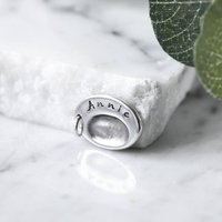 Personalised Silver Oval Fingerprint Charm, Silver