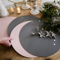 Pair Of Leather Textured Reversible Grey Pink Placemats
