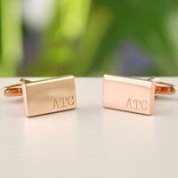 Personalised Rose Gold Small Initials Cufflinks, Gold
