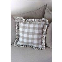 Gingham Check French Linen Frill Ruffle Cushion