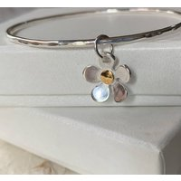 Silver And Gold Flower Charm Bangle, Silver