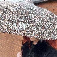 Monogrammed Leopard Print Umbrella