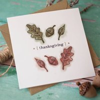 Oak Leaves And Acorns Thanksgiving Card