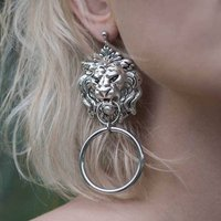 Lion Head Knocker Earrings Silver Or Gold, Silver
